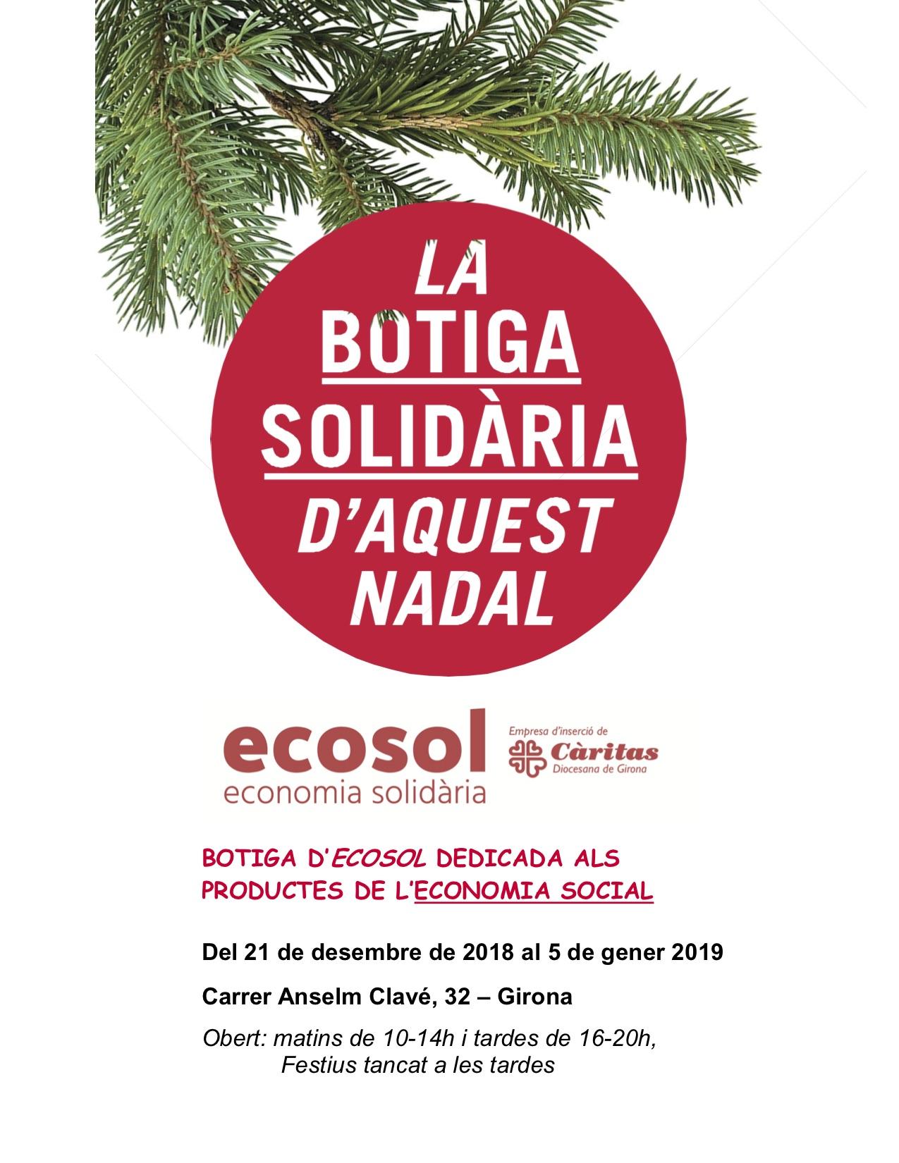 Botiga solidària de Nadal d'Ecosol a Girona